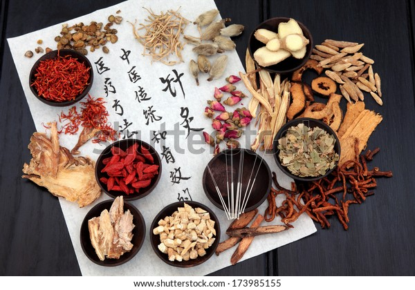 米紙に針と書字を付けた中国の漢方薬の品。