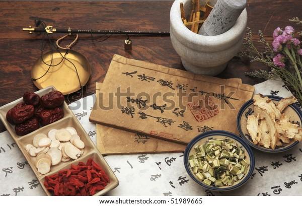 Chinese herbal medicine and tea set