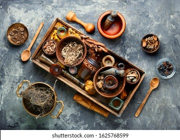 Chinese herbal medicine.Dried medicinal herbs, plants and rhizomes in a box