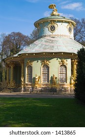 Chinese house is as a charming and exotic garden pavilion, shaped in the form of a cloverleaf. It was built by order of Frederick the Great. Potsdam, Prussia, Germany