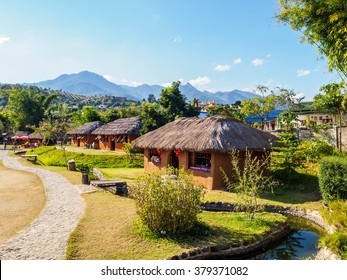 Chinese houses at Santichon Village in Pai city, Mae hong son Province, Thailand