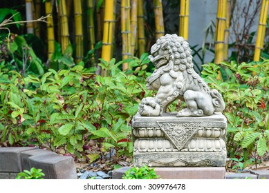 Chinese Imperial Lion, Guardian Lion stone, Chinese style sculpture, in chinese temple garden