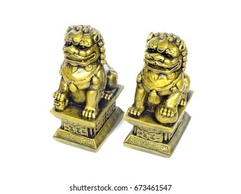 chinese imperial lion statue isolated on white background