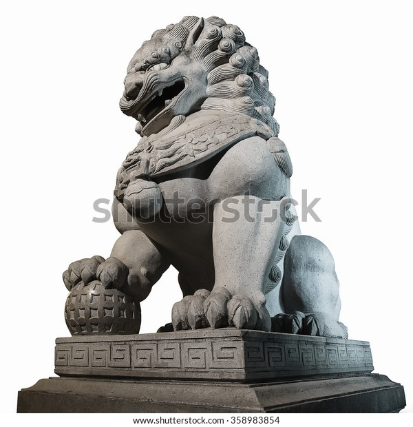 Chinese Imperial Lion Statue  on white background.  include un-expand path. use for background.