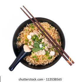 Chinese instant noodle with minced pork bowl isolated on white background