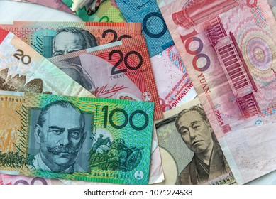Chinese, japanese, canadian and australian banknote mix