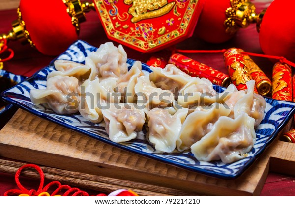 Chinese Jiaozi new year food, spring festival food on traditional spring festival Spring festival atmosphere and dumplings