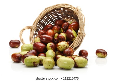 chinese jujubes on white background