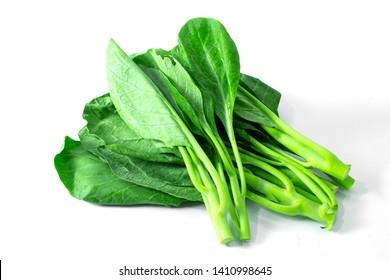Chinese kale on white background.