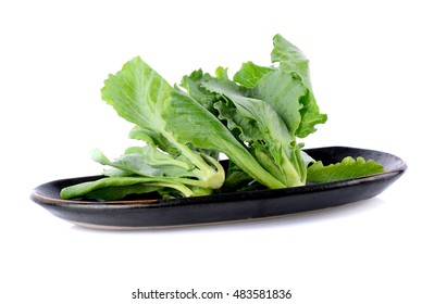 Chinese kale vegetable in black plate on white background