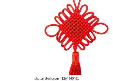 Chinese knot against white background, Chinese New Year decorations