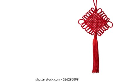 Chinese knot isolated on white background, with copy space