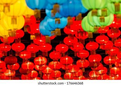Chinese Lantern Asian ( Chinese) traditional silk hanging lanterns lanterns in Bangkok.