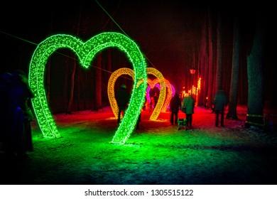 Chinese lantern festival. Hearts.