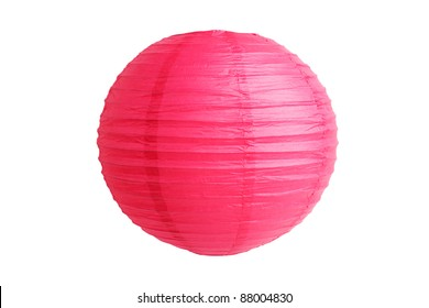 Chinese lantern made of rice paper on a white background