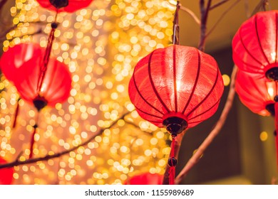 Chinese lanterns during new year festival. Vietnamese New Year