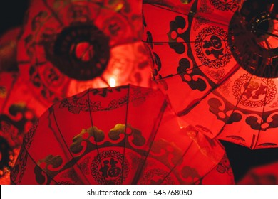 Chinese lanterns during new year festival / soft focus picture