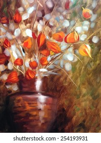 Chinese lanterns flowers oil painting