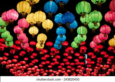 Chinese lanterns hanging  in street at night during the Chinese New Year