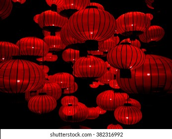 Chinese Lanterns, Chinese New Year.Chinese lanterns during new year festival.Festive chinese red lantern decorations. chinese lantern abstract Background with clipping path.