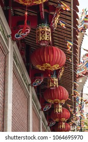Chinese lanterns that bring good luck. The temple is decorated with flashlights