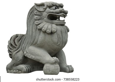 Chinese Lion Figure isolated on white background.