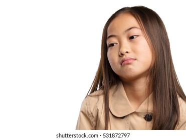 chinese little girl being bored