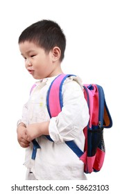 a chinese little girl carries a schoolbag  with white background