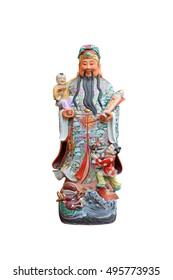 """Chinese lucky gods, Hock or Fu statues """"God of Wealth"""" on White background, God of Fortune (Fu,Hok)"""