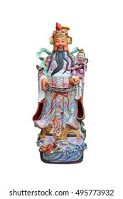 "Chinese lucky gods, Lok or Lu statues ""Military God of Wealth"" on White background, God of Prosperity (Lu,Lok)"