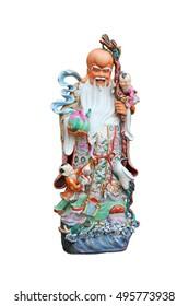 """Chinese lucky gods, Shou or Xiu statues """"God of Longevity"""" on White background, God of Longevity (Shou,Siu)"""