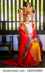 Chinese Lunar New Year celebrations,Portrait of Asian woman dress in ancient Chinese princess (Queen) costume
