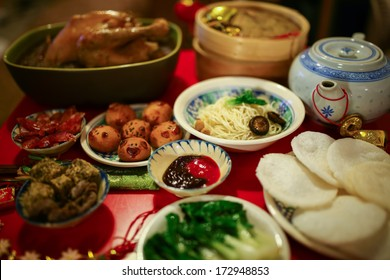 Chinese or Lunar New Year food are served with different kinds