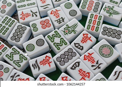 chinese mahjong on the table