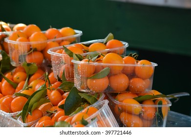 Chinese mandarins for sale on blurred background