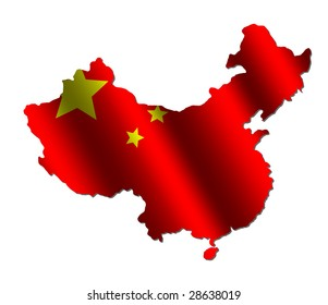 Chinese map with rippled flag on white illustration