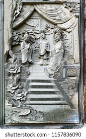 """Chinese marble bas-relief on the wall of the """"Kek Lok Si"""" temple in Penang"""