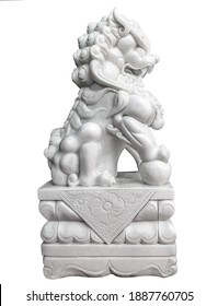Chinese Marble Guardian Lion Statue. Sculpture Male Fu Dog paw holds the top of a ball globe isolated on white background