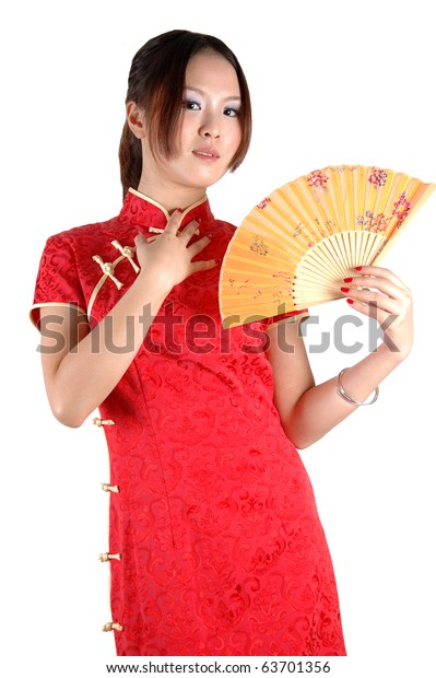 87061520a Chinese model in traditional dress called QiPao, holding fan. Asian cute  girl, young