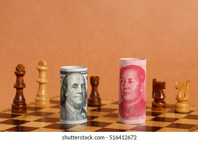 Chinese Money Note vs US Money Note  on a Chess Board