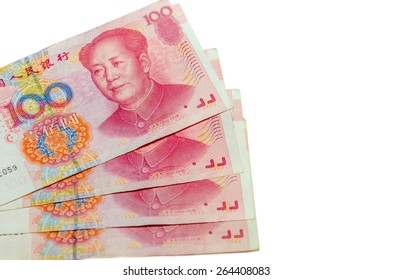 Chinese money Yuan in isolated white background