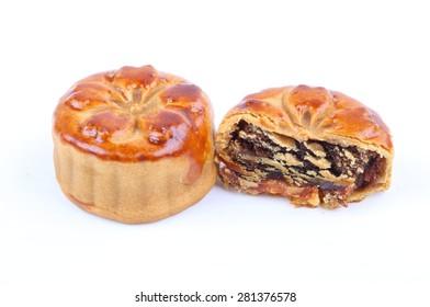 Chinese moon cake dessert on white background