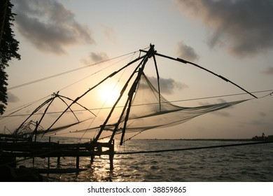 chinese net in fort cochin, kochi, kerala, india