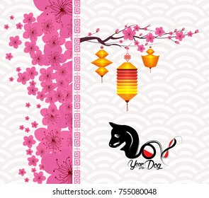 Chinese new year 2018 blossom. Year of the dog