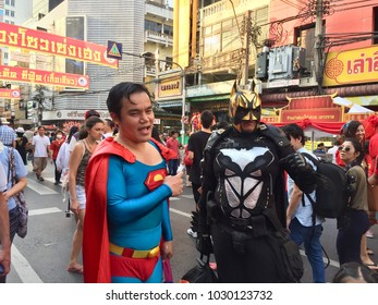 Chinese New Year in Bangkok Thailand 2018 at Yaowaraj Road The Most Peoples are celebrate Two man dressing Superman and Batman.