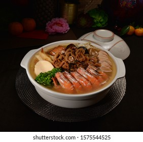 chinese new year braised Peng cai (seafood, prawn, meat, pork, duck, chicken, abalone, scallop, sea cucumber) in clay pot