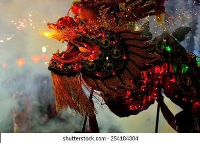 Chinese New Year Celebrations 2558: a spectacularly Dragon Dance by celebrating the Chinese New Year in Pattaya, Thailand on February 19, 2015