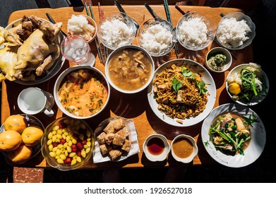 Chinese new year culture; The ancestors food, Celebration of Chinese culture ancestors and god with various foods meat, desserts and beverage