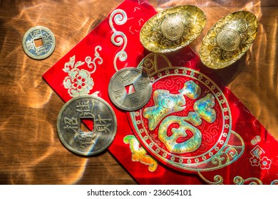 Chinese New Year Decoration on wooden table