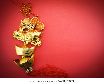 chinese new year decoration on red paper background